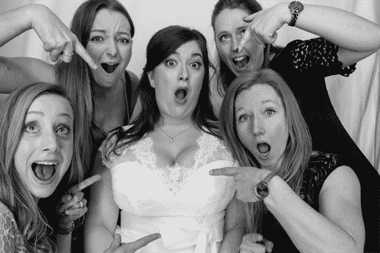 black and white photo booth hire